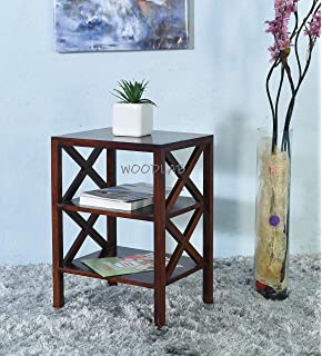 Woodlab Furniture Sheesham Wood Bedside Table and Bookshelf with 2 Open Shelves Storage for Home  Brown