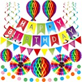 Premium Reusable Birthday Party Decorations - Birthday Decoration Set - Happy Birthday Banner, Honeycomb Decorations…