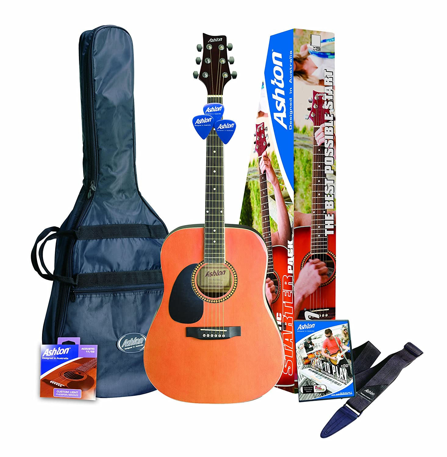 ashton spd25ltbb left handed acoustic guitar starter pack