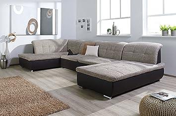 Couch u form  Wohnlandschaft, Couchgarnitur XXL Sofa, U-Form, braun/cappuccino ...