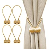 J-H 2 Pairs (4 Pcs) Magnetic Curtain Tiebacks Curtain Buckle Decorative Rope Holdback Holder Suitable for Home Office Window