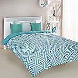Amazon Brand - Solimo Geometric Maze Microfibre Printed Comforter, Single, 200 GSM, Blue and Green