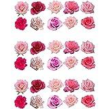 30 gemengde roze rozen eetbare wafer papier taart toppers decoraties