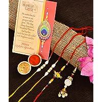 Collectible India Combo Of 4 Rakhi For Brother, Bhaiya, kids and Bhabhi with Beautiful Gift set, Rakshabandhan Gift Card/Bhabhi Lumba Rakhi/Krishna Rakhi/Rakhi Gifts (RAKHI114)