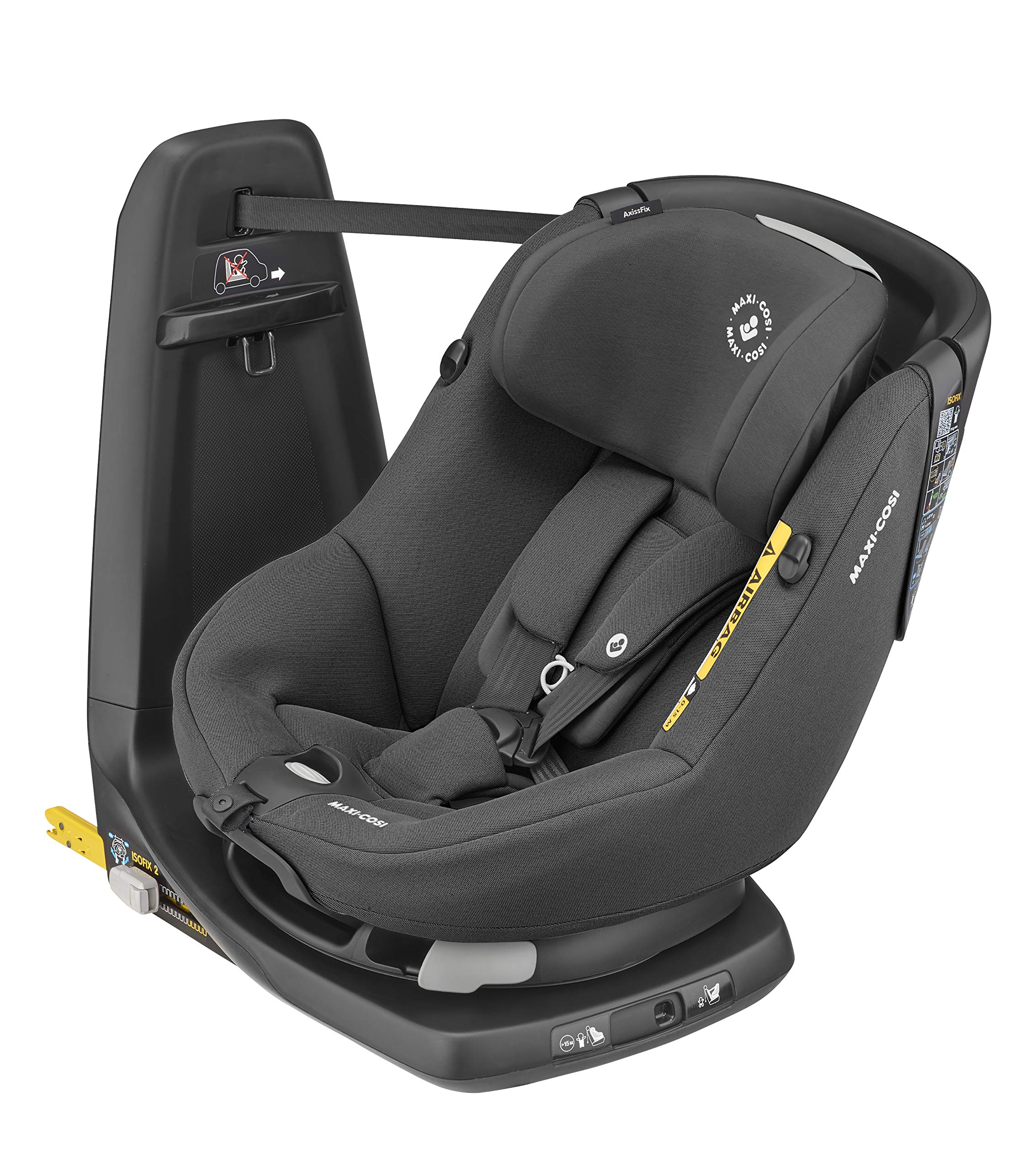 Maxi-Cosi Axissfix Toddler Car Seat, Swivel Car Seat, 4 Months - 4 Years, 61-105 cm, Authentic Black Maxi-Cosi Toddler car seat, suitable from approx. 4 months up to 4 years (61 - 105 cm) 360° swivel car seat, to easily get your child in and out the seat I-size (r129) car seat legislation, due to extended rearward-facing travel and improved side impact protection 1
