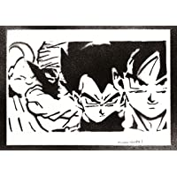 Poster Dragon Ball Goku Vegeta e Piccolo Majin Bu Handmade Graffiti Street Art - Artwork