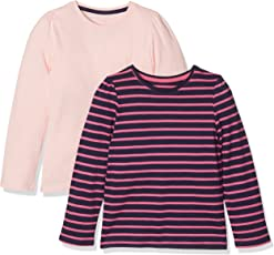 Mothercare Girls' Striped Regular Fit T-Shirt (Pack of 2)