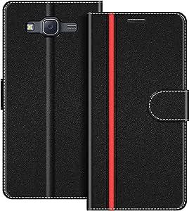 COODIO Handyhülle für Samsung Galaxy J5 2015 Handy Hülle, Samsung Galaxy J5 2015 Hülle Leder Handytasche für Samsung Galaxy J5 2015 Klapphülle Tasche, Schwarz/Rot
