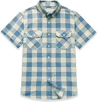 Dubinik Mens Button Down Short Sleeve Shirt 100% Cotton Plaid Casual Shirts with Pocket