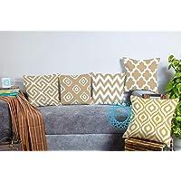 STITCHNEST Cotton 180 TC Cushion Cover, 12 x 12 Inch, Beige, 5 Pieces
