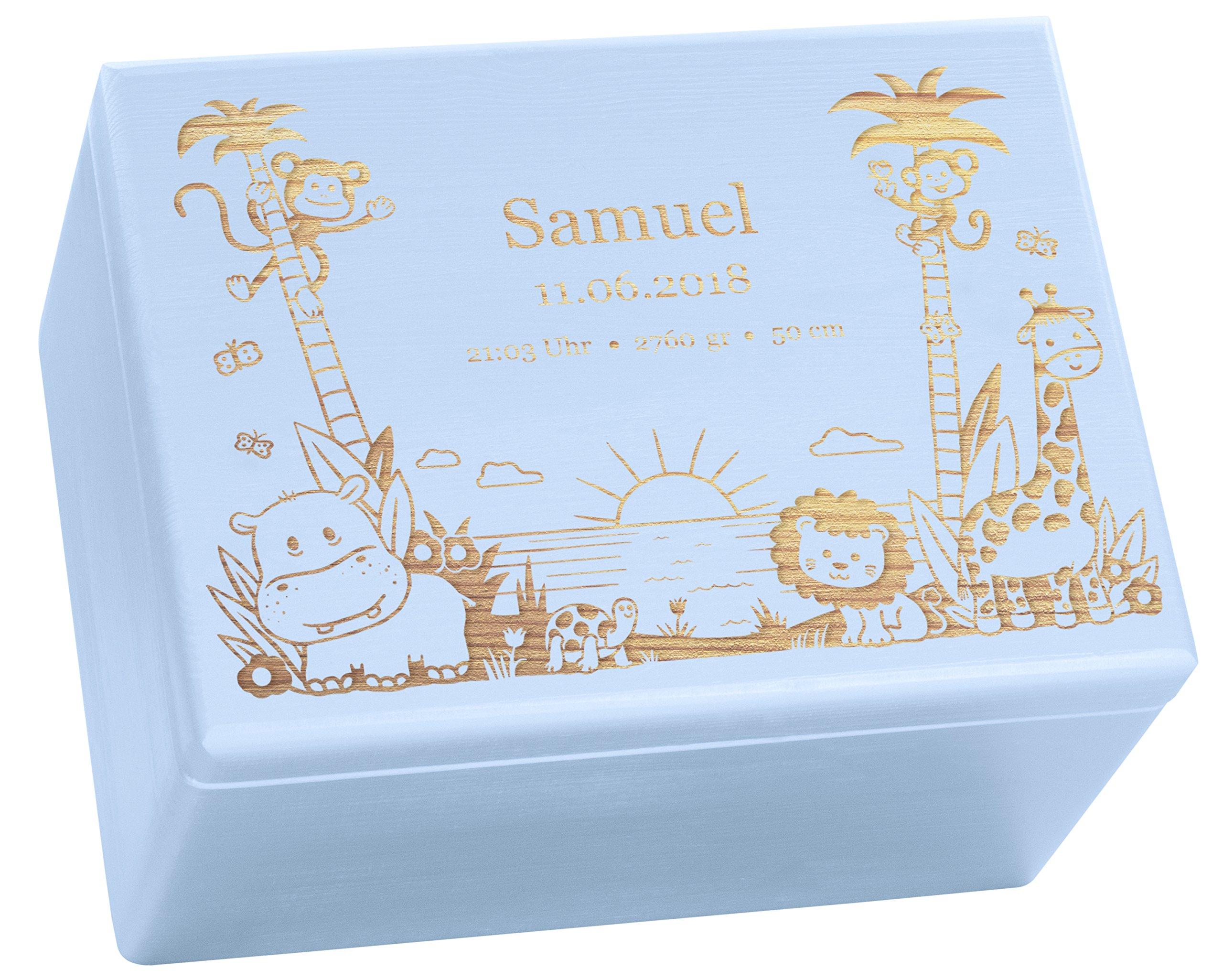 Holzkiste mit Gravur - Personalisiert mit ❤️ GEBURTSDATEN ❤️ - Blau Größe XL - Dschungel Motiv - Erinnerungskiste als Geschenk zur Geburt - LAUBLUST® 11