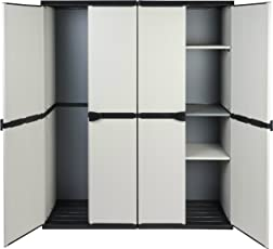 Vorteilspack: 2 robuste Kunststoff Spindschränke in hellem Grau. Jeder Schrank mit Maß: 68 x 39,5 x 168 cm. TOPP!