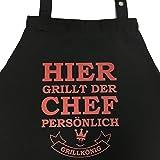 Grillkönig Hier grillt der Chef persönlich - lustige Grillschürze für Männer lustig, Kochschürze, Latzschürze mit verstellbarem Nackenband und Seitentasche Edition (Black) Grillzubehör