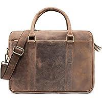 LEABAGS Istanbul Leder-Umhängetasche I Laptoptasche 15 Zoll I Messenger Bag aus echtem Büffel-Leder I Aktentasche I…