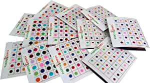 PARTH IMPEX 720 X Count Assorted Multi Color and Multi Size Indian Daily Use Reusable Forehead Bindi Round Dot Tattoo Body Art Sticker