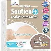 Babysom - Matelas Bébé Soutien+ 60x120 cm   Anti-acarien   Contact Latex : Résistant et Aéré   Épaisseur 14 cm…
