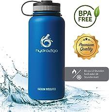 hydro2go Edelstahl Trinkflasche X-AlpsBottle - 1000ml / 1l | vakuumisolierte Thermosflasche + 3 Trinkverschlüsse | Auslaufsichere Isolierflasche | doppelwandige Outdoor Sportflasche | Vakuumflasche