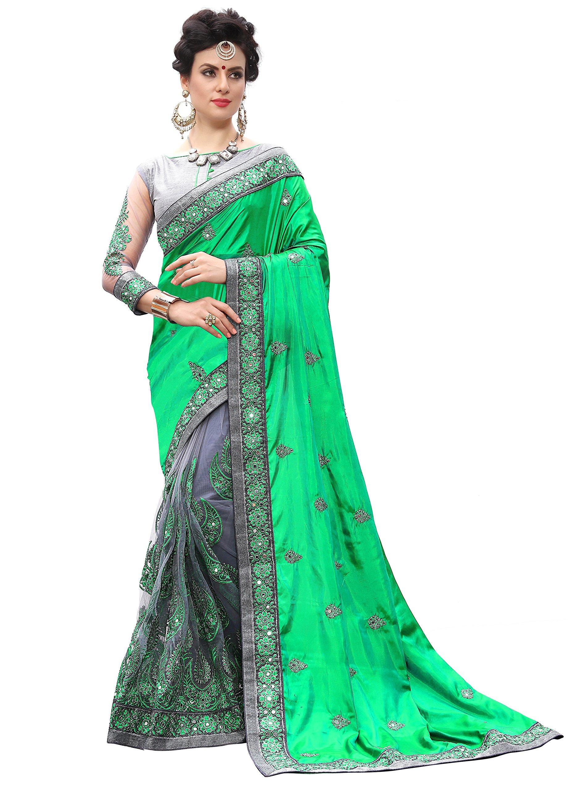 Women's Heavy Embroidery Work Satin Net Saree