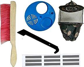 Hi-Tech Natural Products Beekeeping Equipment( Combo Pack Of 5 Item) (Bee Brush-1 , Food Grade Plastic Ventilator-1,Bee Veil(Army)-1,Hive Tool(Iron J Type)