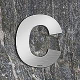 qoboob® roestvrijstalen huisnummers c straatnummer fijn geborsteld zilver 155mm (1 stuks)