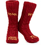 Harry Potter Slipper Socks, Women Knitted Fluffy Socks, Xmas Stocking Fillers (Burgundy)