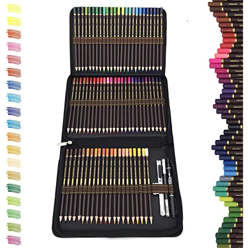 Matite Colorate Professionali da Disegno,migliori matite colorate kit da disegno,72 matite Colorate in astuccio portapenne grande capacità-Astuccio di Pastelli Colorati Professionali Adulti e Bambini