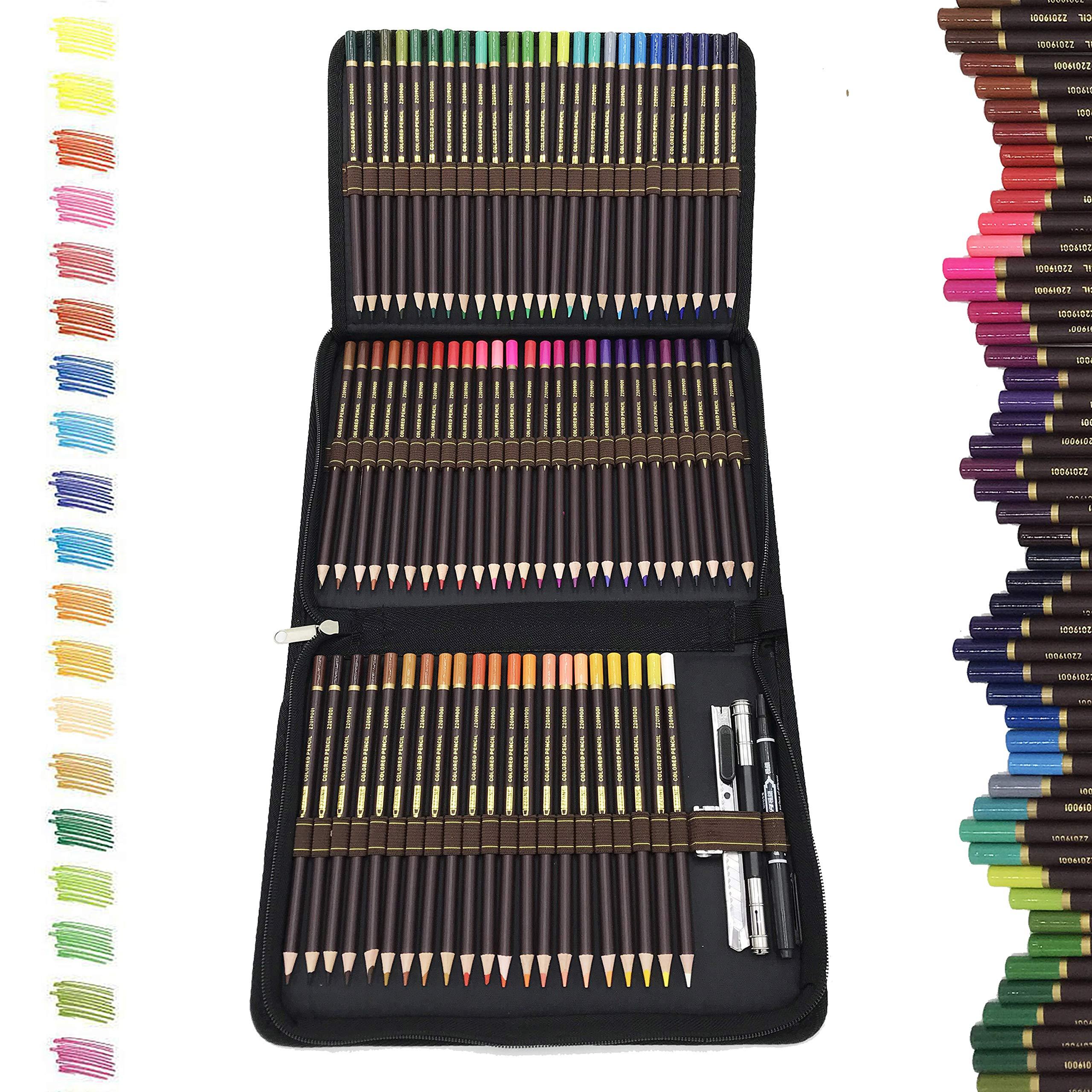 72 Lapices de Colores Profesionales,lapiz para colorear de Dibujo y Bosquejo Material de dibujo Set,Incluye Caja de Cremallera Portátil,Mejores Lápices de colores Conjunto Ideal para Adultos y Niños