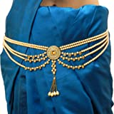 Fresh Vibes Traditional Pearls Waist Belt Saree Tagdi Kamarband for Women – Ladies Fancy Ethnic Gold Plated Hip Belt Kamar Ba