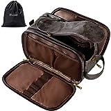 Water-Resistant Leather Toiletry Bag for Men Large Travel Wash Bag Shaving Dopp Kit Bathroom Gym Toiletries Makeup Organizer