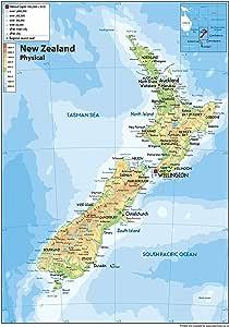 Cartina Nuova Zelanda.Nuova Zelanda Mappa Fisica Carta Plastificata A1 Misura 59 4 X 84 1 Cm Amazon It Cancelleria E Prodotti Per Ufficio