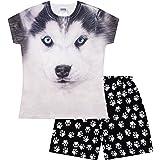 Pijama corto para niñas y niños, diseño de perro Husky