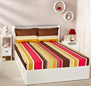 Amazon Brand - Solimo Vivid Stripes 144 TC 100% Cotton Double Bedsheet with 2 Pillow Covers, Mustard and Brown