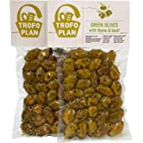 TrofoPlan Green Olives with Thyme and Basil, 2 x 200 g (Total: 400 g)