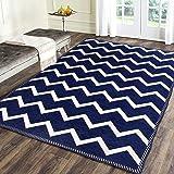 Braids Premium chennille Living Room Carpet,Area Rug,durries- 4.5 ft x 6 feet,Multicolor (Blue)
