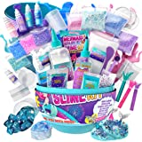 GirlZone Egg Mermaid Sparkle Slime Making Kit for Girls, Measures 9.5 Inches High, 39 Pieces to Make DIY Shimmer Slime with L
