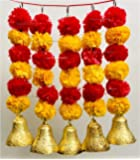 SPHINX Artificial Marigold Fluffy Flowers and Golden/Silver Hanging Bells Short Garlands/Torans/Wall hangings/Latkans for Decoration Approx 1.2 ft- Pack of 5 Strings (Light Orange & Red)