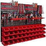 Opslagsysteem wandrek 1152 x 780 mm, gereedschapshouders, stapelboxen opbergkasten, extra sterke wandplaten, rek uitbreidbaar