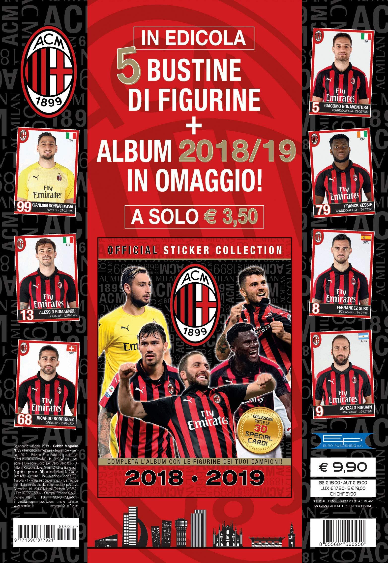 Calendario Ac Milan.Euro Publishing Calendario Milan 2019 Ufficiale 29 X 42 Cm