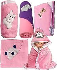 My NewBorn Baby Fleece Blanket Gift Set (Pink, 0-9 Months) - Set of 5