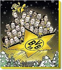 Borussia Dortmund Exclusiv Schoko-Comic-Adventskalender/Weihnachtskalender (200g) mit 25 lustigen Schoko-Comic-Täfelchen mit Autogrammkarten und GRATIS Aufkleber