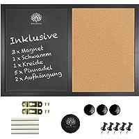 OfficeTree 60x40cm Lavagna Magnetica Cucina - 3in1 Lavagna Cucina per Gesso con Bacheca - Lavagna Sughero per Promemoria…