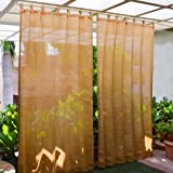 HIPPO - HDPE Fabric - Decorative Outdoor Loop Curtains - 80% to 85% Sun Blockage - Beige Black Color - 4.5 ft X 7.5 ft - Pack