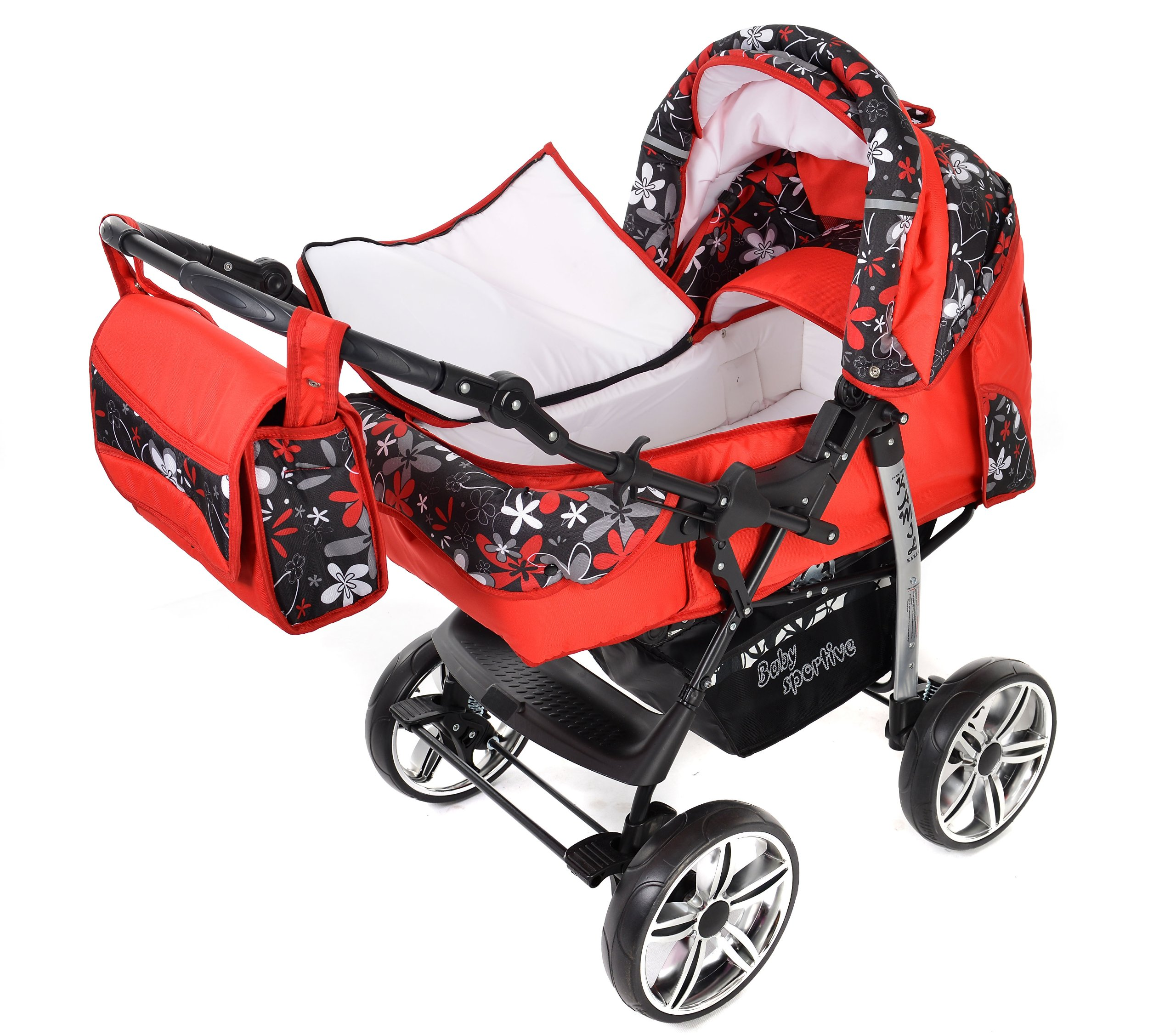 Kamil, Classic 3-in-1 Travel System with 4 STATIC (FIXED) WHEELS incl. Baby Pram, Car Seat, Pushchair & Accessories (3-in-1 Travel System, Red & Small Flowers)