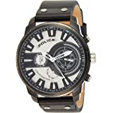 Police Leicester Analogue Gun Case, Silver Dial And Black Leather Watch For Men - PL 15217JSU-04