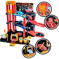 Toyshine City Parking Garage Play Set Track Set with 3 Cars, Accessories