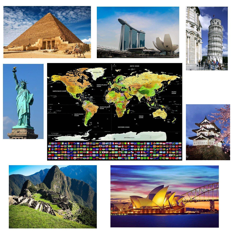 Offerta Mappa Del Mondo Da Grattare Formato Poster Xxl Di Alta Qualità E Definizione La Miglior Cartina Del Mondo Da Grattare Con Accessori