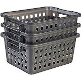 Amazon Basics 135764 Panier de Rangement en Plastique Multi Basket, Gris, 3 11,6L