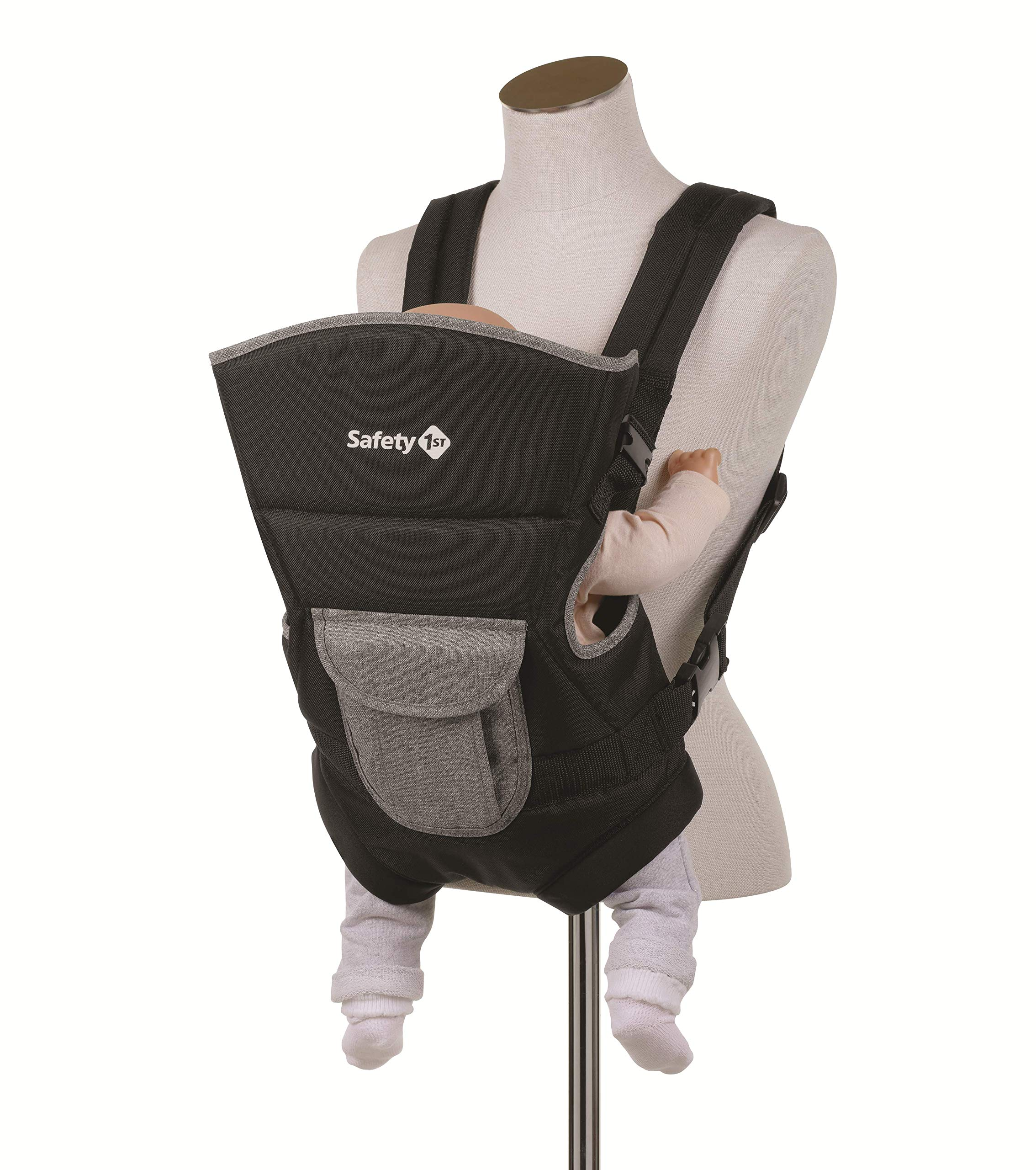 Safety 1st Youmi Baby Carrier, Black Chic Safety 1st 2 positions: parent facing and forward facing Comfortable and safe seat thanks to padding and reinforced back and head piece Safe and easy to install the baby thanks to the zippered opening 1