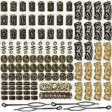 YMHPRIDE 110 piezas de cuentas de barba vikinga, cuentas de tubo de pelo nórdicas antiguas, cuentas de rastas para trenzar el