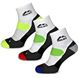 More Mile London Men's Running Ankle Socks (3 Pair Pack) Lightweight with Compression Arch Brace, Cushioned Heel and Toe and